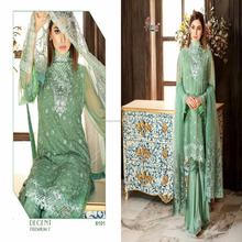 Adorable Designer Green Color Georgette Embroidered Fancy Pakistani Suit
