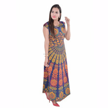 Indian bohemian beach throw frill night wear mandala dress