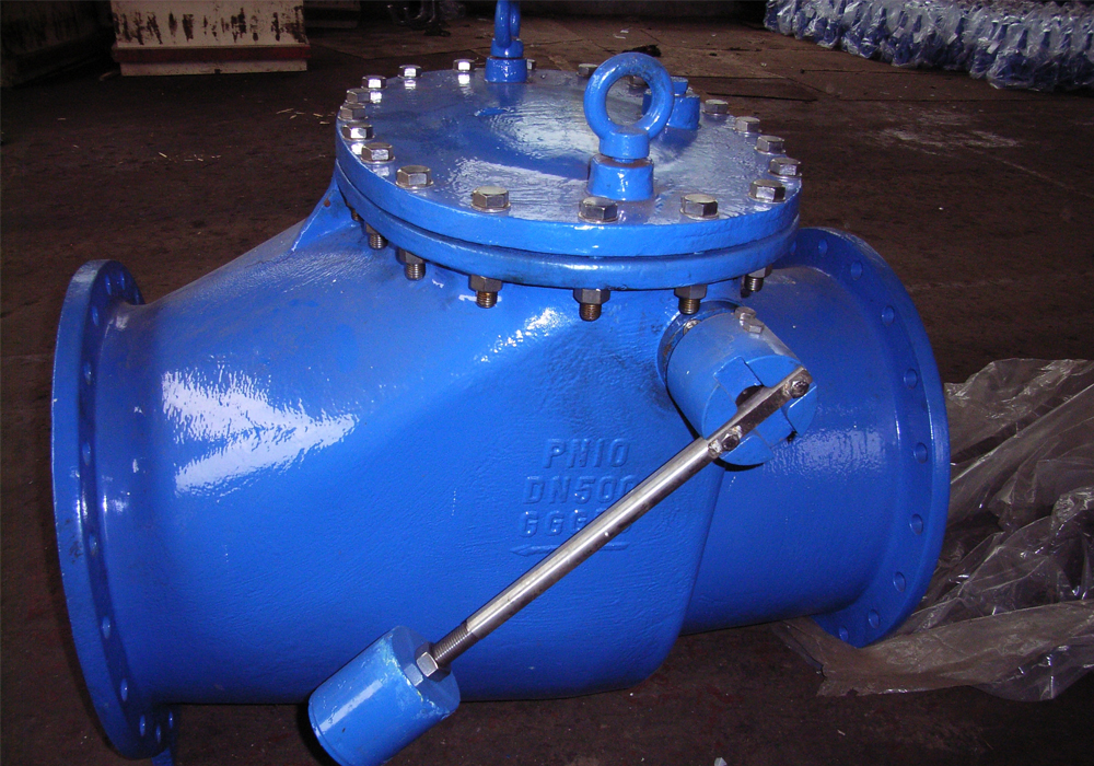 Swing check valve with lever arm and counterweight