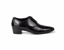 MEN'S BLACK FORMAL LACE-UP FULL BROGUE SEMI BROGUE OXFORD SHOE ON CUBAN PU SOLE