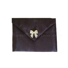 Black Silk Envelope For Invitation Cards Or Jewellery Packaging Featuring Bow Brooch
