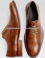 Tan Leather Shoes Lace Up Style Cow Leather For Mens