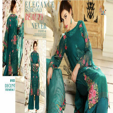 Dark Green Color Georgette Embroidered Fancy Pakistani Suit