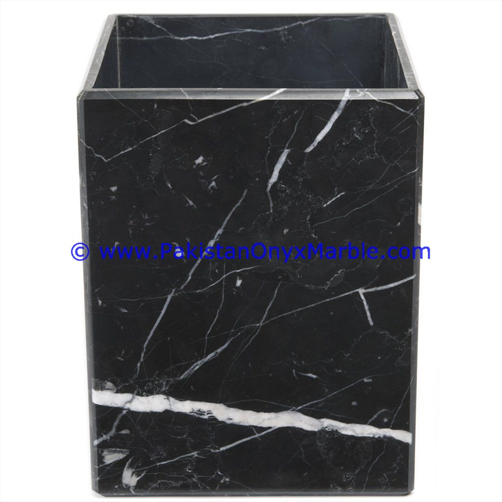 Indoor Decorative Household Top Onyx marble waste baskets dustbin trash teakwood black white