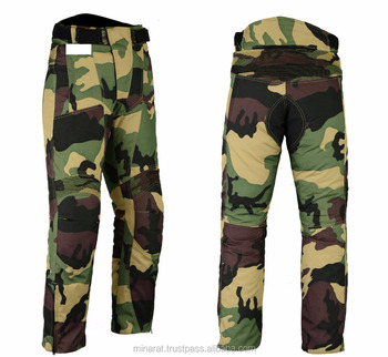 All Weather Green Camouflage CE Armoured Waterproof Motorcycle Motorbike Cordura Trouser Pant