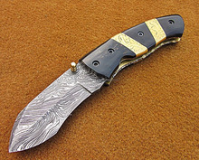 Handmade Damascus Steel Pocket Folding Knife Handle Engraved Brass Spacers And Buffalo Horn SK-339