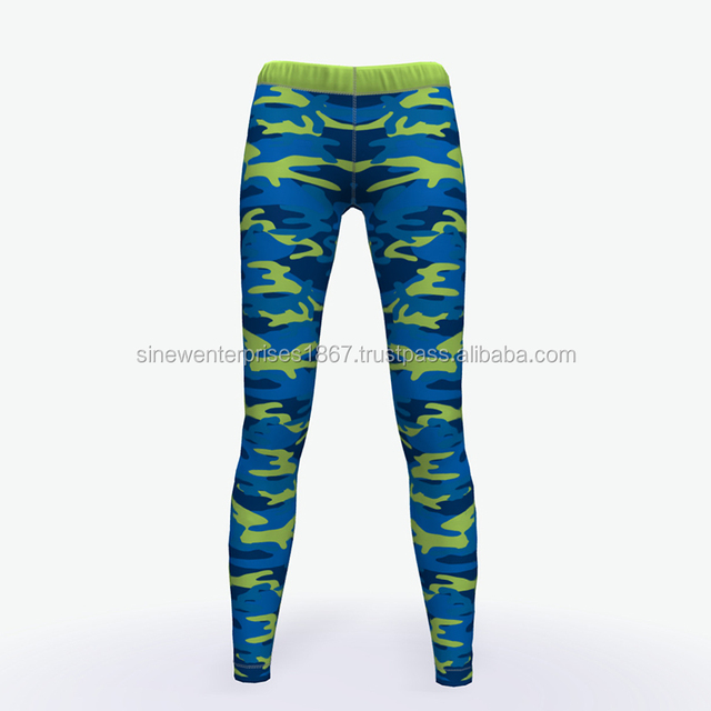Custom Camouflage Sublimation Printed Women Sports Compression Tights