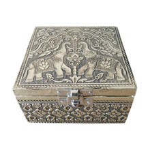 Antique ELEPHANT designed Wooden Handmade Metal finish Wedding Favor Box / Trinket Box