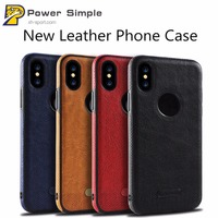 New Wholesale Simple Case PU Leather Soft Case Back Cover For iphone X phone accessories Hight Quality Anti-knock