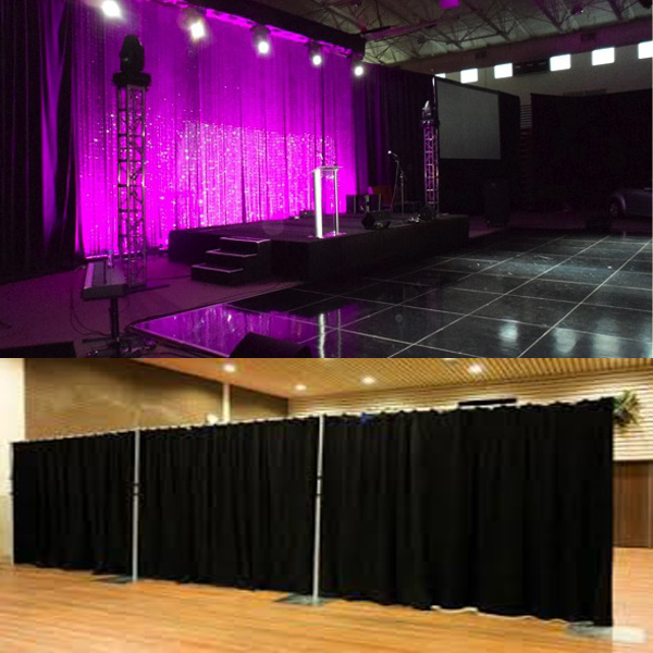 photo booth pipe and drape wedding backdrop with telescopic pole