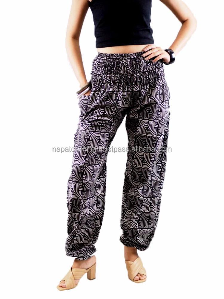 Napat Thai Style Harem Cotton100% Trousers New elasticated waist Free Size