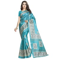Fashionable Sky Blue Colored Printed Art Silk Casual Wear Saree Without Blouse