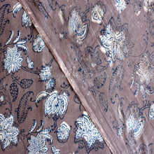 Yards Indian Block Print Brownish Grey Color Fabric, Wood Printed 100% Cotton Soft Fabric, Dabu Print Mud Resist Hand Printed Fa