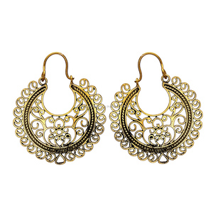 Shining gold plated leaf earrings solid brass jewelry wholesale indian gold plated fashion earrings jewelry