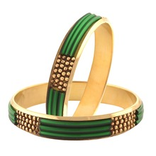 Zephyrr Fashion Metallic Gold Tone Bangle Kada Pair for Women Green