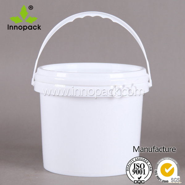 free plastic barrel 2 liter with lid with handle for ice cream and honey