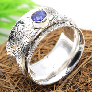 Meditation blue sapphire gemstone texture 925 sterling silver spinner ring wholesale online handmade jewelry