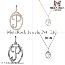 14k Gold Initial P Pave Set Diamonds Designer Fashion Charm Pendant 925 Silver Jewelry