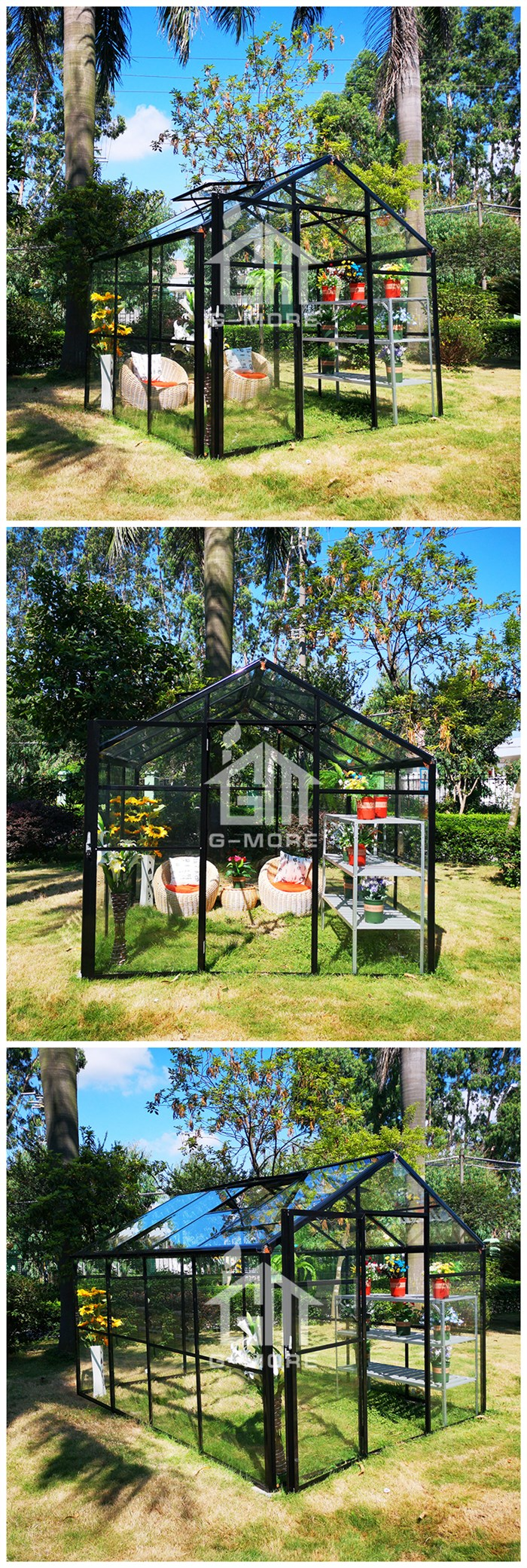 G-MORE Premium New Design Glasshouse for Family Gardening / 16'x11' Double Door with 4MM Safety Glass