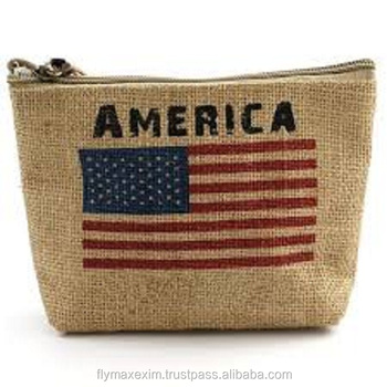 Printed Jute cosmetic bag