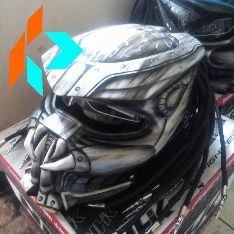 100% Handmade Monster Predator Full Face Helmet Washed Silver Grey With Hair And Laser