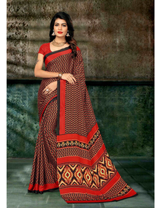 Ethnic Designer Printed Plain Crepe Saree Casual Wear Crepe Sari