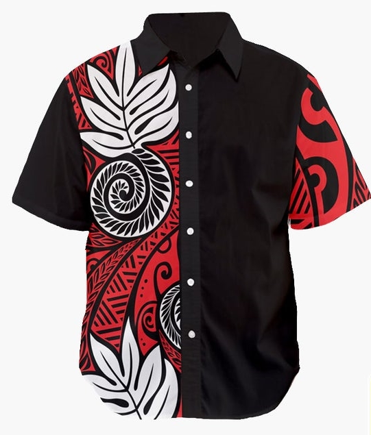 Polynesian shirt - Half black red white - Button up shirt men design on sleeve - Hawaiian shirt men