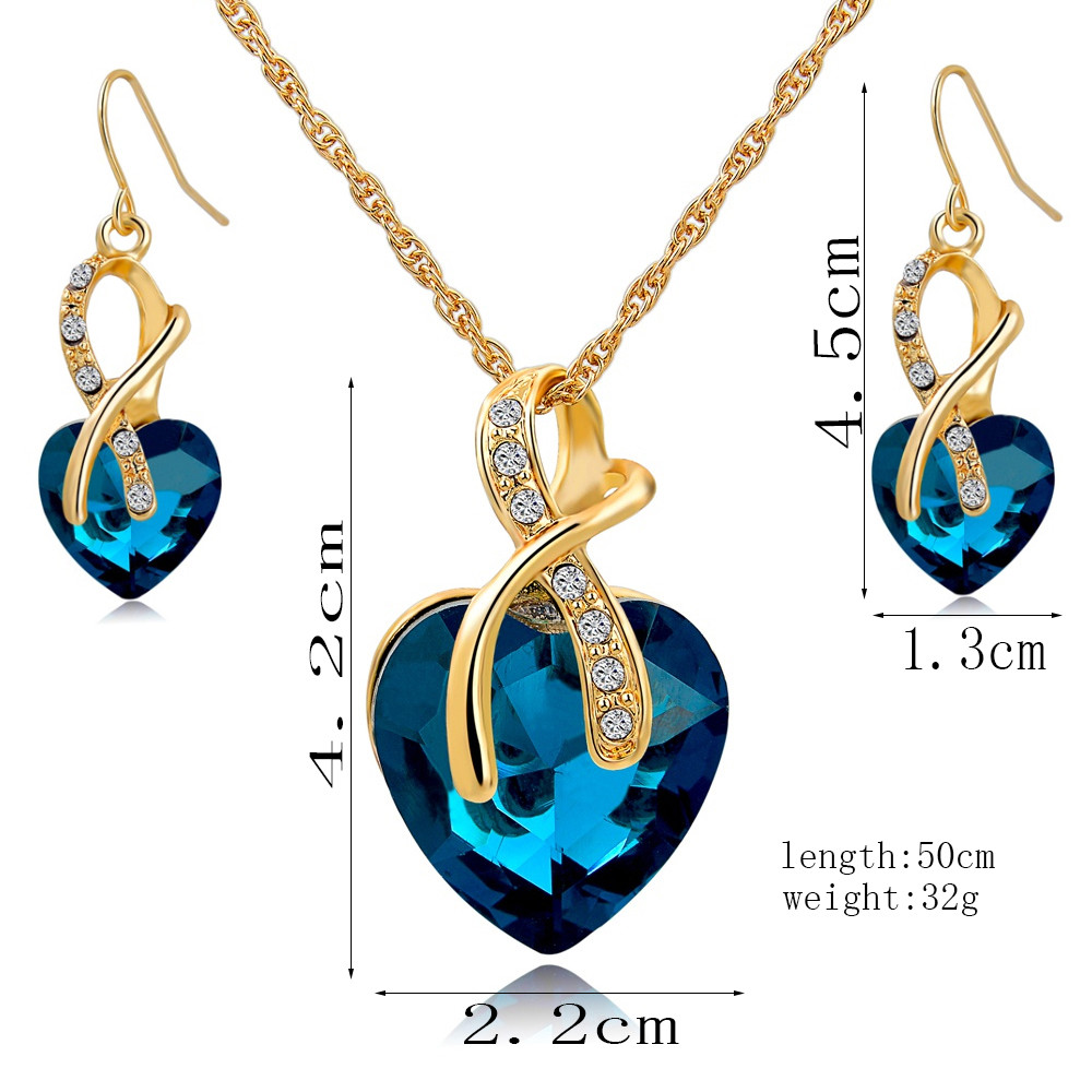 Jewelry Sets For Women Gold Color Crystal Fashion Luxury Heart Necklace Earrings Jewellery Bridal Wedding Accessories Set