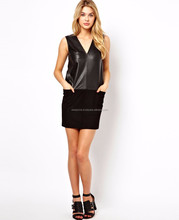 New Strapless Black PU Leather Off The Shoulder Front Open Fork Dress Sexy Slim Celebrity