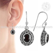 Real garnet gemstone oval shape silver earrings manufacturer 925 sterling silver earring handmade jewelry