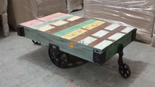 Industrial Hand Painted Wooden Cart Coffee Table Wheels End Table Laptop Table Iron Metal Wheel