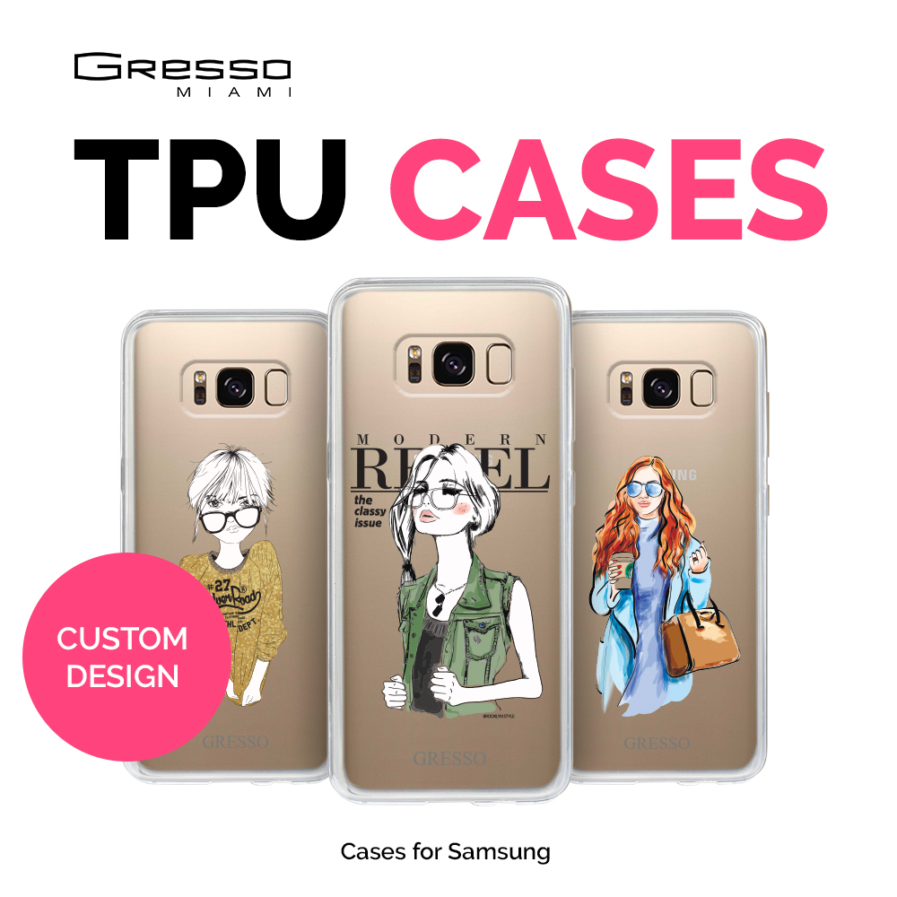 Fashion Transparent TPU Wallet Case for Samsung Galaxy s9 s9+ s8 s8+ s7 with Girls Design Printing Wholesale OEM