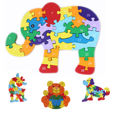 Kids Toys Educational Alphabet Numbers Wooden Puzzle Animal Designs