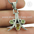 Scenic design citrine, peridot gemstone pendant 925 sterling silver jewelry pendants wholesaler