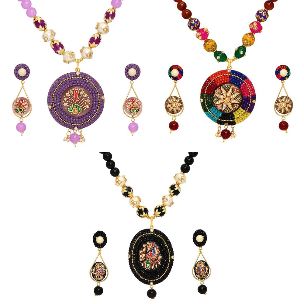 Jaipur Mart Gold Plated Multi & Purple & Black Color Colored Glass Stone, Color Beads, Pearl Necklace With Earrings Combo Of 3 P