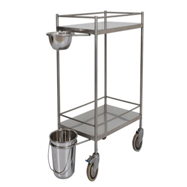 Cheap hospital instrument dressing trolley price with handle