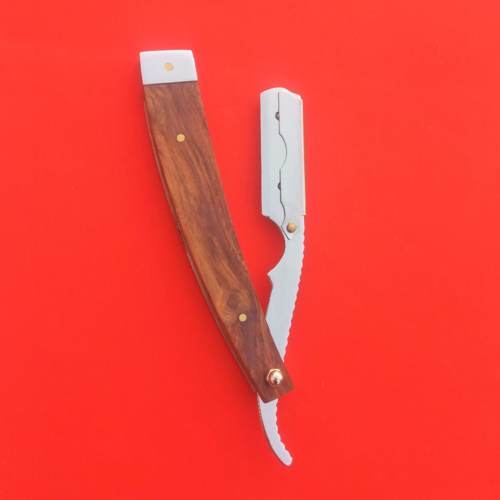 High Quality Wooden Handle Stainless Steel Changeable Blade Straight Razor