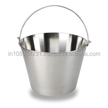 stainless steel 2 quart matte finish pail bucket