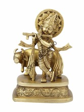 Hindu Gods lord Krishna standing with Cow statue pooja religious decor 7""