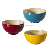 Wholesale set of spun bamboo bowls made in VietNam / Designed bamboo salad bowls