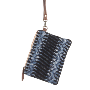 Hand pouch in dark blue color. Can be used as cosmetic pouch