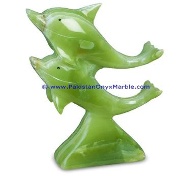 Multi Color Wholesale Onyx Double Dolphin Statues Animal Carvings