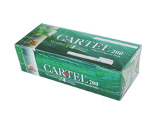200x CARTEL MENTHOL Flavour Empty Tobacco Cigarette Filter Tubes King Size, Filter 15 mm