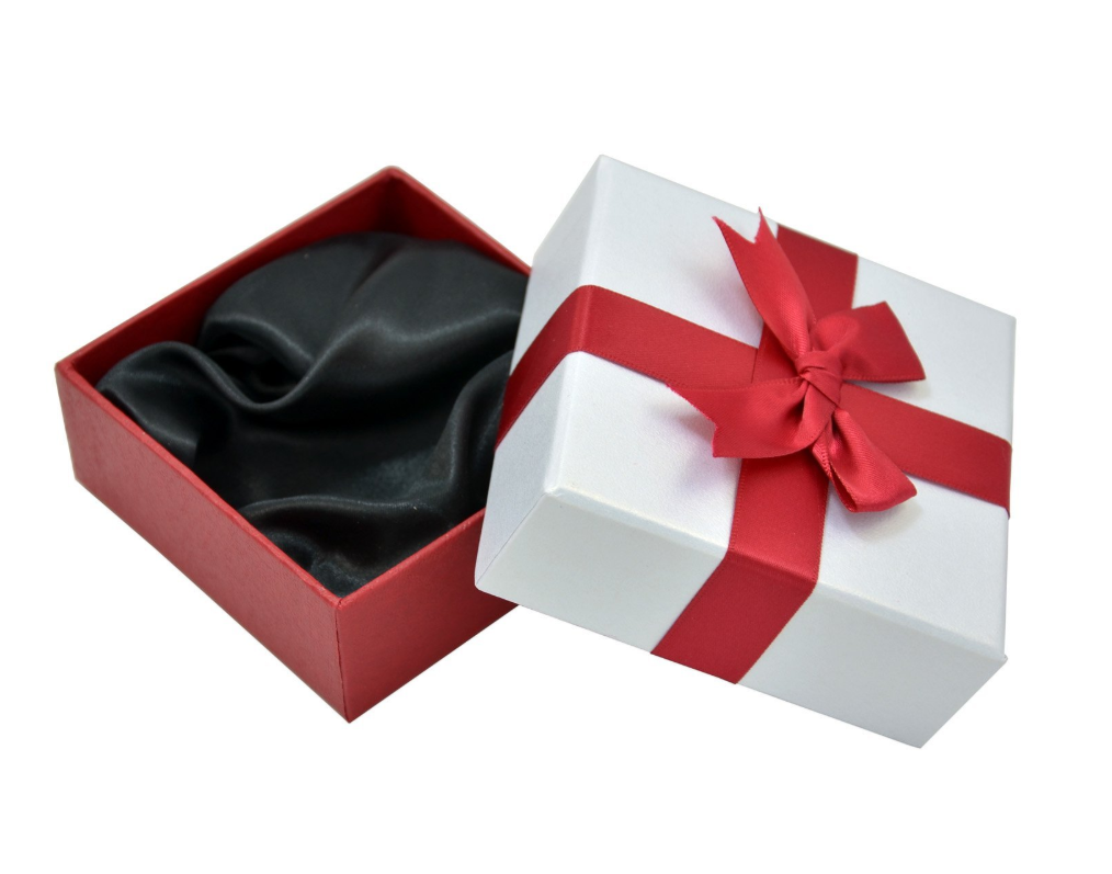 Jewelry Package Paper Gift Box Red Ribbon Bow-knot 3 3/4-Inch by 3 3/4-Inch