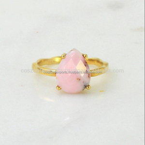 Pink Opal October Birthstone Stacking Gemstone Tear Drop Vermeil Polish Gold Sterling Silver Rings