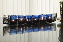 Wire Cruise Six Votive Stand (Set of 6 Votive) Blue