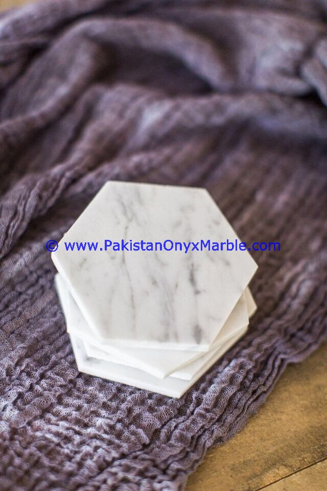 CUSTOM DESIGN MARBLE COASTER SETS ZIARAT CARRARA WHITE MARBLE