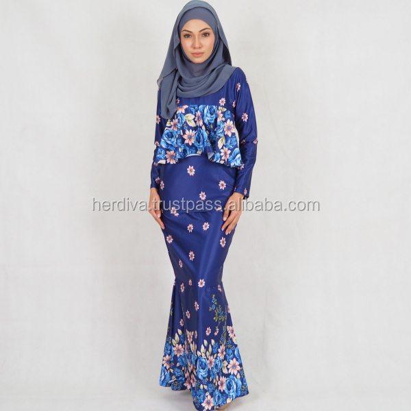 Digital Printed Fabric For baju melayu muslimah islamic abaya kebaya clothing One piece Top Skirt OEM ODM Printing Textile HOT