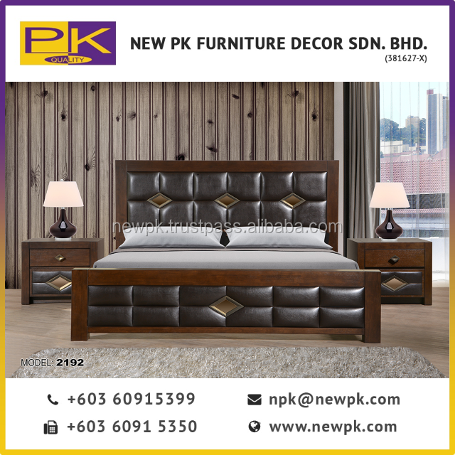 Best Quality NPK 2192 - Classic Bedroom Furniture Antique Set with PU Leather in Brown - Malaysia Wooden bed room furniture
