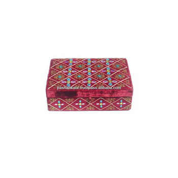 Hand Embroidery Decorative Box , Hand Knotted Jewelry Box